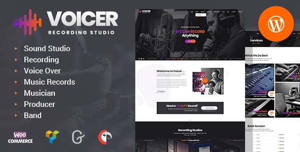 Recording Sound Studio website theme Voicer